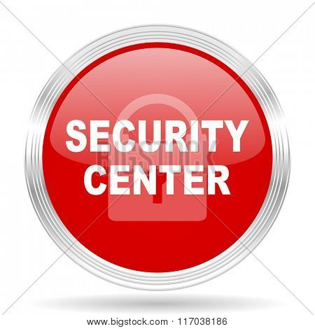 security center red glossy circle modern web icon on white background