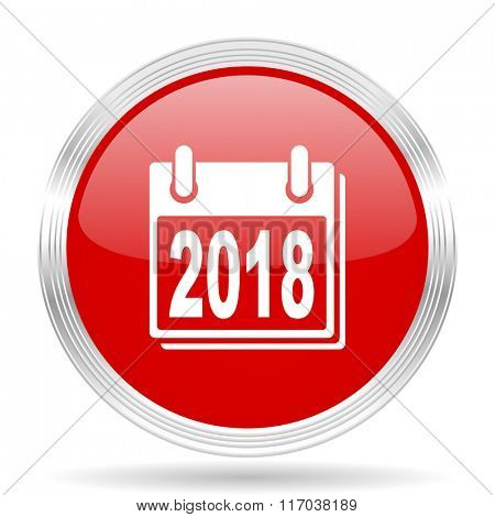 new year 2018 red glossy circle modern web icon on white background