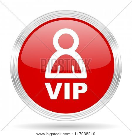 vip red glossy circle modern web icon on white background