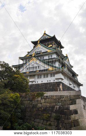 Osaka castle, the landmark and symbol of Osaka city Japan