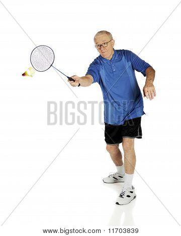 Senior Playing Badminton