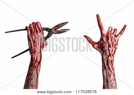 Halloween Theme: Bloody Hand Holding A Big Old Bloody Scissors On A White Background