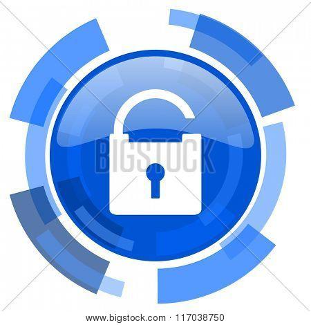 padlock blue glossy circle modern web icon