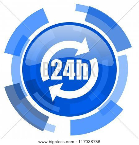 24h blue glossy circle modern web icon