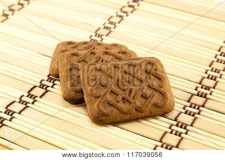 Tasty And Fresh Cookies Isolated On Vintage Background.