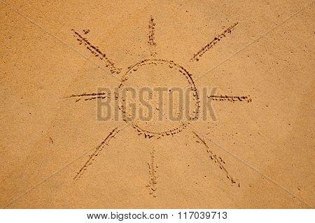 Sun Drawn In The Sand On Beach