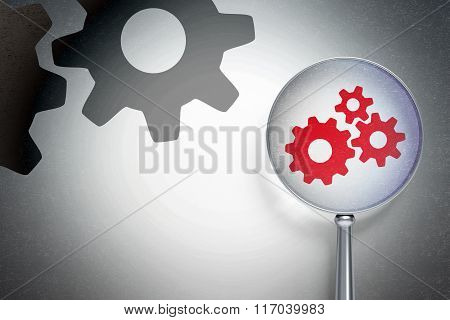 Web design concept:  Gears with optical glass on digital background