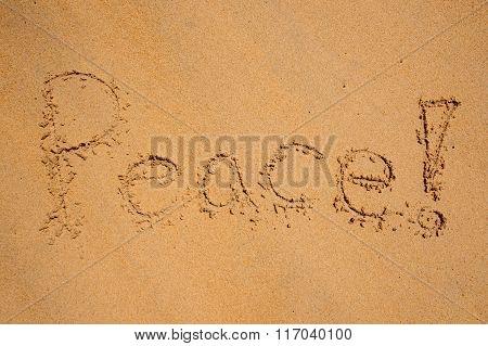 Peace, Written On A Sandy Beach.