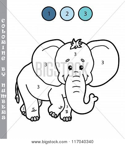 Coloring by numbers elephant
