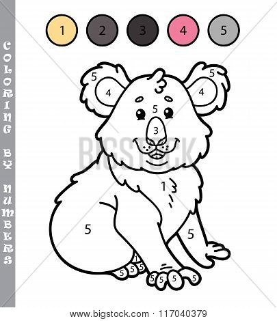 Coloring by numbers koala