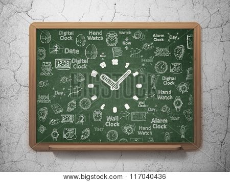 Time concept: Clock on School Board background