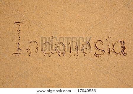 Indonesia Written In Sandy Tropical Beach