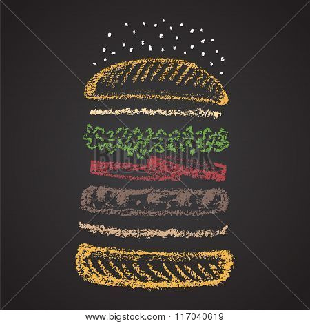 Chalk painted colorful components of burger.