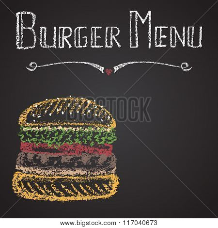 Chalk painted colorful illustration of burger menu. Poster style.