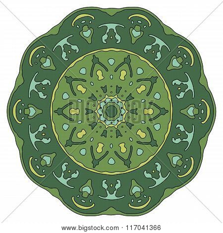 Hand drawn mandala. Colorful vector illustration isolated on white
