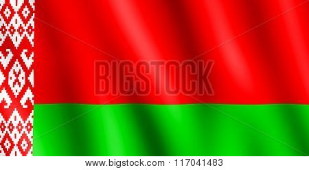Flag Of Belarus Waving In The Wind