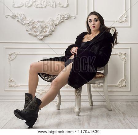 girl in fur coatt and boots