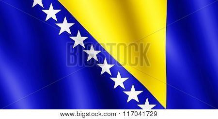 Flag Of Bosnia And Herzegovina Waving In The Wind
