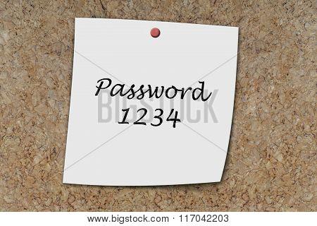 Password 1234 Written On A Memo