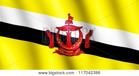 Flag Of Brunei Waving In The Wind