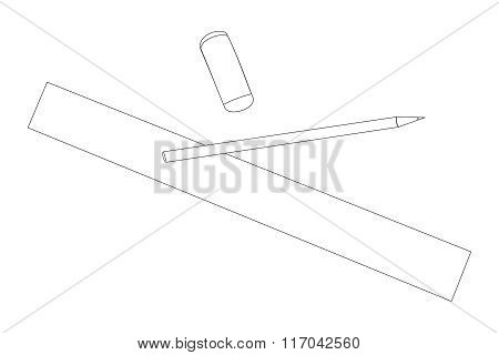 Pencil erase and rule