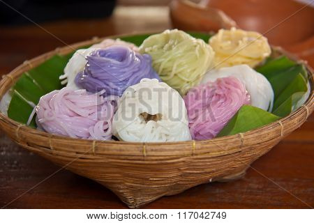 Colorful Of Thai Vermicelli Eaten With Curry
