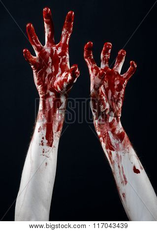 Bloody Halloween Theme: Bloody Hands Killer Zombie Isolated On Black Background In Studio