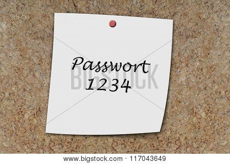 Passwort 1234 Written On A Memo