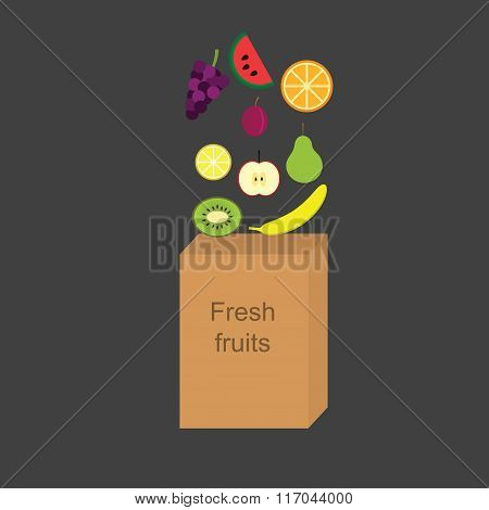 Vector illustration with the image of fresh fruits falling into a paper bag.