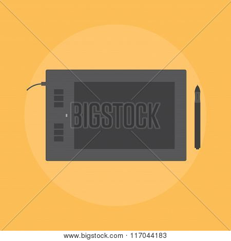 Graphics tablet. Icon graphics tablet. Icon graphics tablet into flat style.