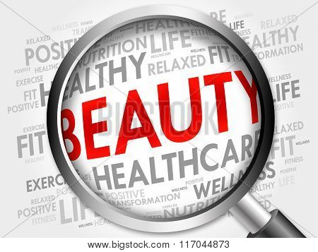 Beauty Word Cloud With Magnifying Glass