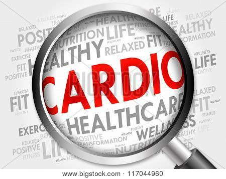 Cardio Word Cloud With Magnifying Glass