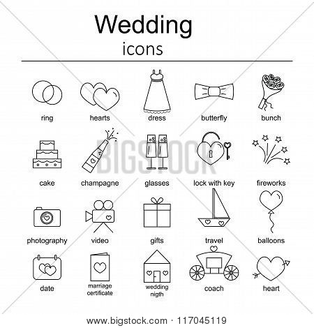 Set of wedding icons.