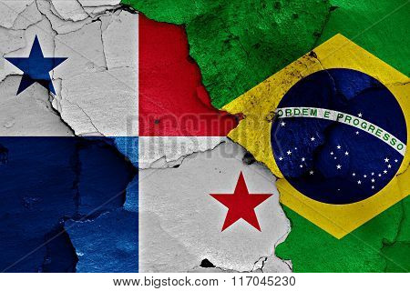 Flags Of Paanama And Brazil Painted On Cracked Wall
