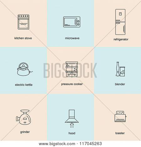 Icon set of kitchen appliances.