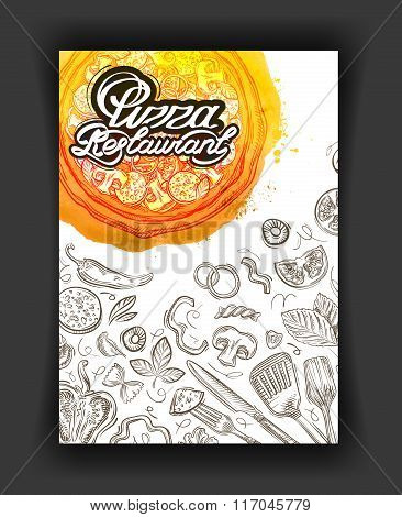 Pizza restaurant, sketch menu, food cafeteria