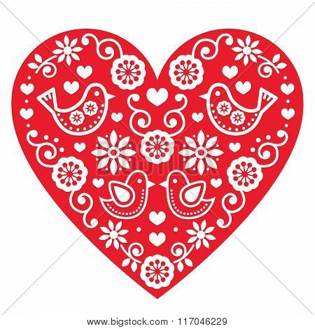Folk art Valentine's Day heart- love, wedding, birthday greetings card