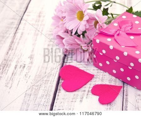 Pink Gift Box With Heart And Flowers On Rustic White Wooden Table. Valentine's Day And Mother's Day