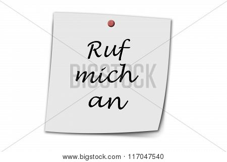Ruf Mich An Written On A Memo