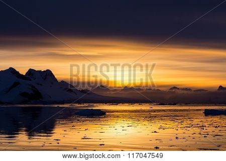 Sunset At Lemaire Channel, Antarctica