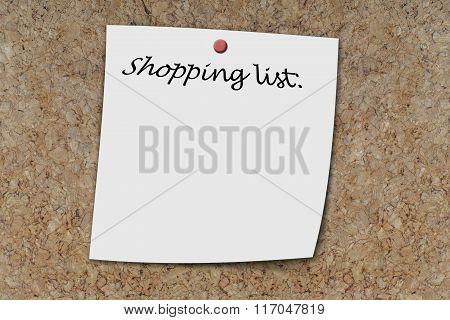 Shopping List Written On A Memo