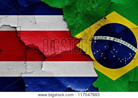 Flags Of Costa Rica And Brazil Painted On Cracked Wall