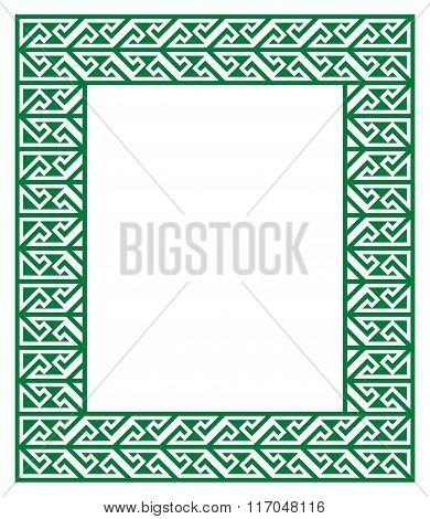 Celtic Key Pattern - green frame, border