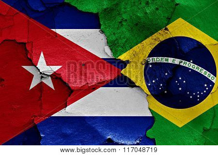 Flags Of Cuba And Brazil Painted On Cracked Wall