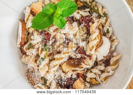 Pasta dish with mushrooms.