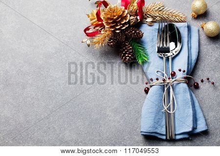 Christmas And New Year Holiday Table Setting Celebration Place setting for Dinner Decorations Copy s