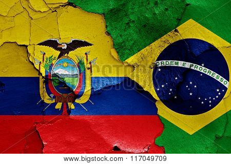 Flags Of Ecuador And Brazil Painted On Cracked Wall