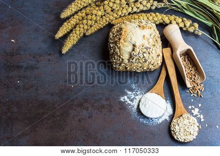 Baking Background With Wheat And Flour