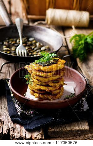 Potato And Pumpkin  Fritters