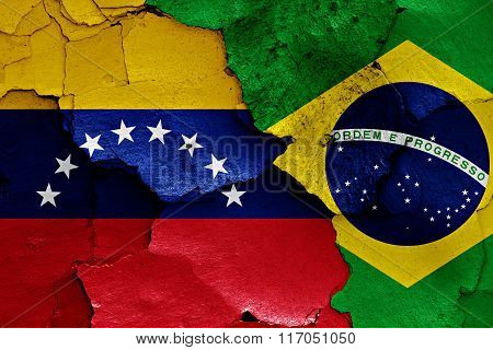 Flags Of Venezuela And Brazil Painted On Cracked Wall
